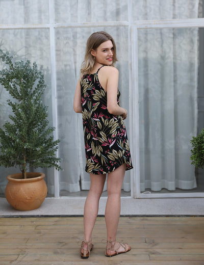 Sleeveless Floral Printed Casual Mini Dress - Blooming Jelly