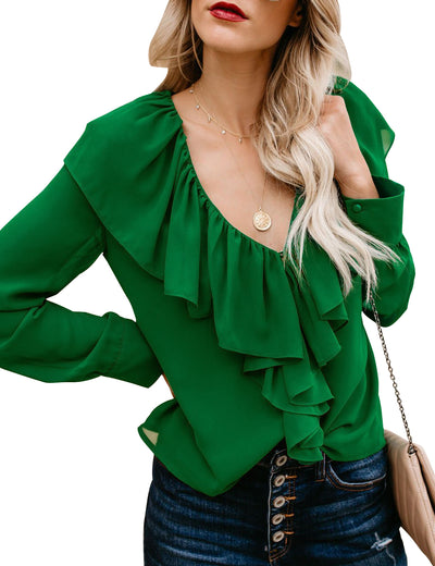Flatulent Palace Layered Ruffles Chiffon Blouse - Blooming Jelly