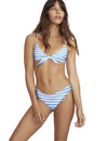 Summer Jumping Stripe Tie Front Bikini Set