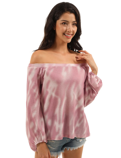 Relaxed Day Off the Shoulder Tie Dye Blouse - Blooming Jelly