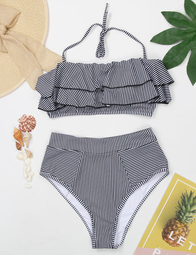 Ruffled Bandeau Stripe High Waist Bikini Set - Blooming Jelly