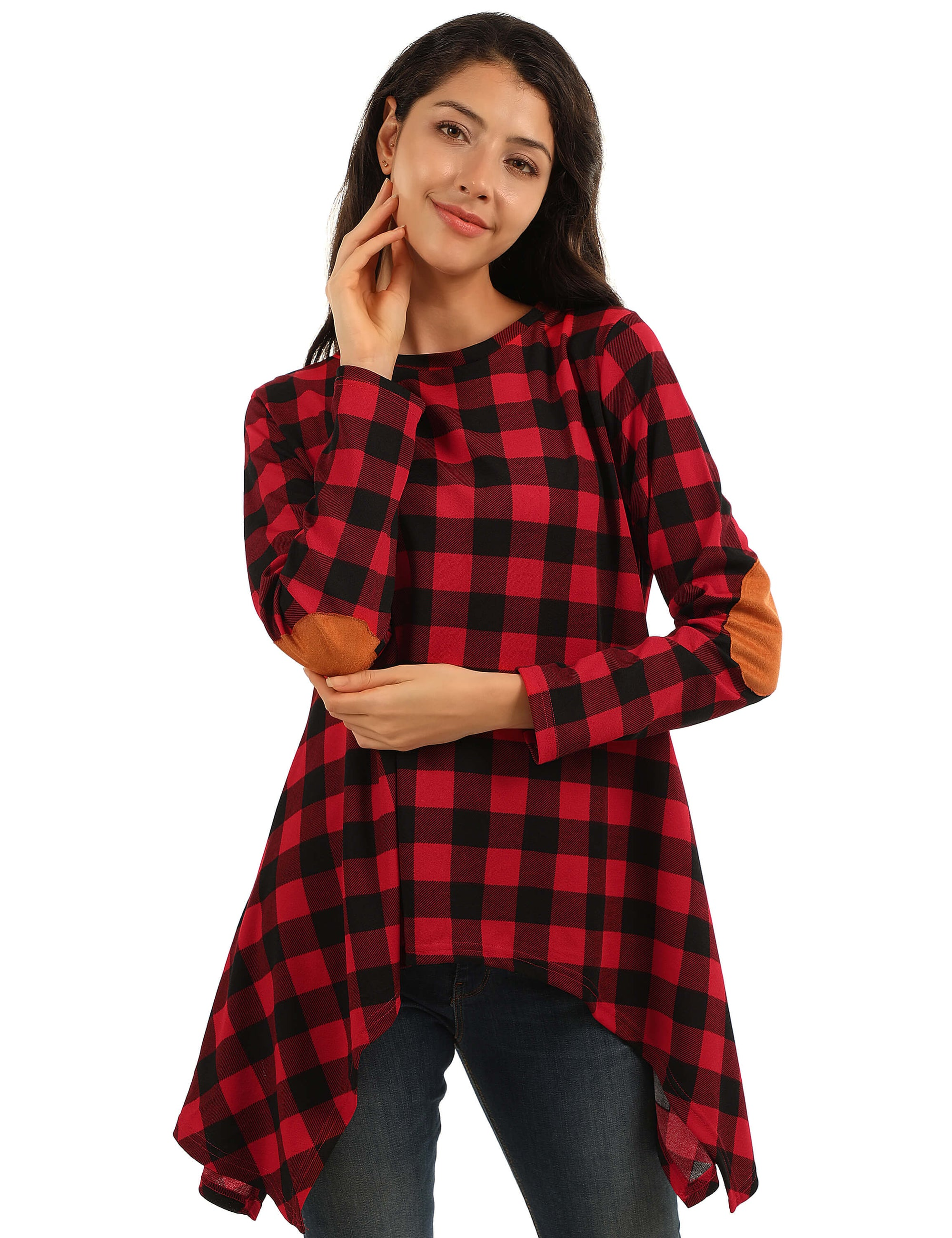 Blooming Jelly_Elbow Patchwork Irregular Hemline Tunic Top_Red Plaid_155221_17_Women Loose Plaid Print_Tops_T-Shirt