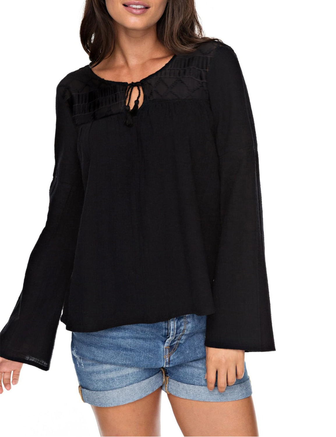 Contrast Lace Tie Hollow Out Flare Sleeve Blouse
