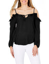 Butterfly Sleeve Off Shoulder Black Sexy Blouse