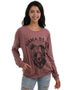 Brave Animal&Letter Print T-Shirt with Pockets - Blooming Jelly