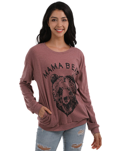 Blooming Jelly_Brave Animal&Letter Print T-Shirt with Pockets_Mama Bear&Letter Print_153292_17_Women Autumn&Winter Outdoor_Tops_T-Shirt