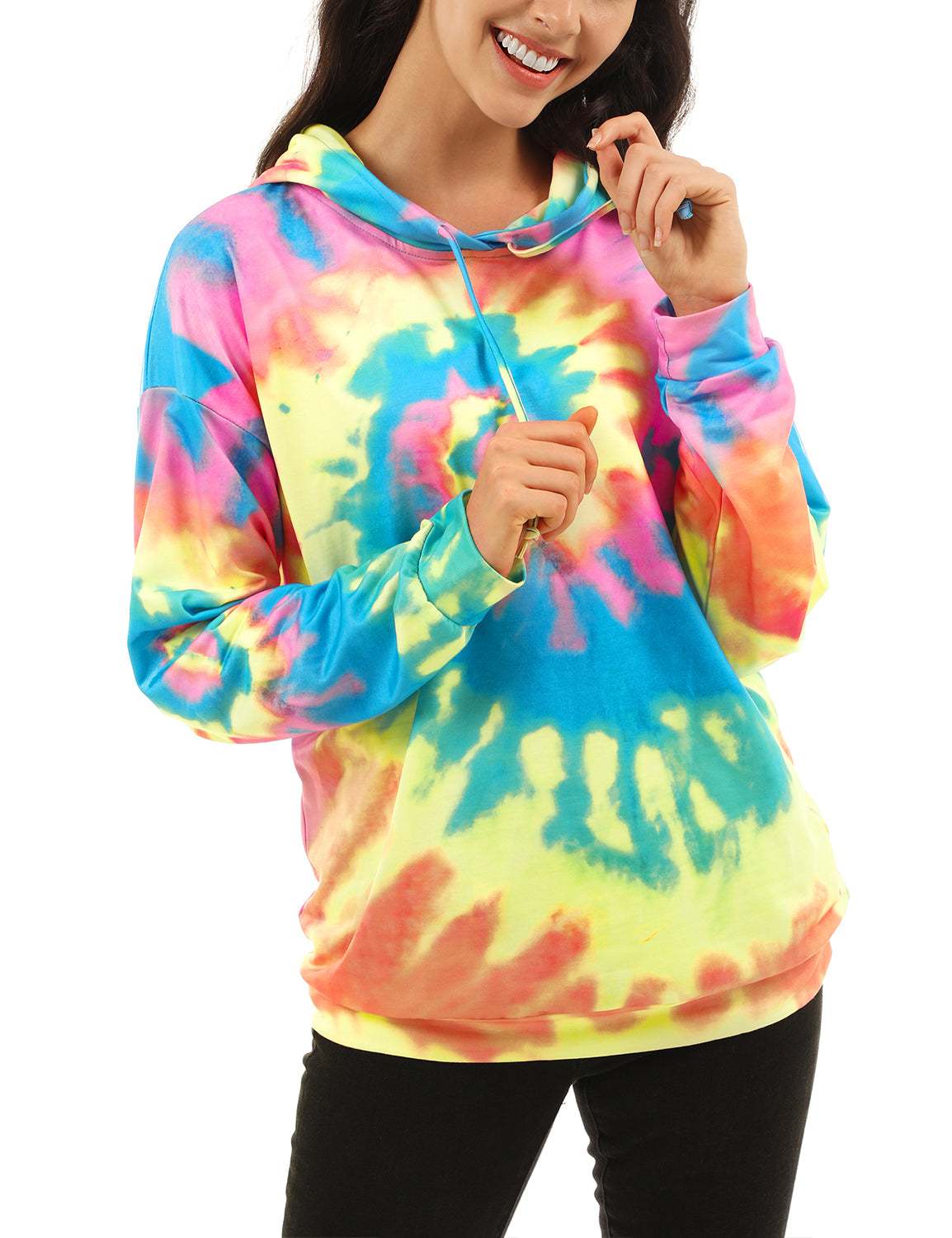 Blooming Jelly_Cool Heart Spiral Tie Dye Hoodie_Multi-colors Tie Dyed_302017_21_Cool Girl Street Wear_Tops_Hoodie
