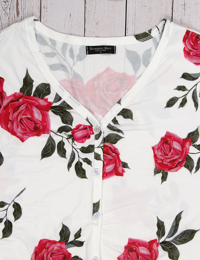 Elegant Tie Front Floral Blouse - Blooming Jelly