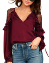 Blooming Jelly_Lace V Neck Butterfly Sleeve Chiffon Blouse_Maroon_155014_27_Elegant Spring&Autumn Outdoor_Tops_Blouse