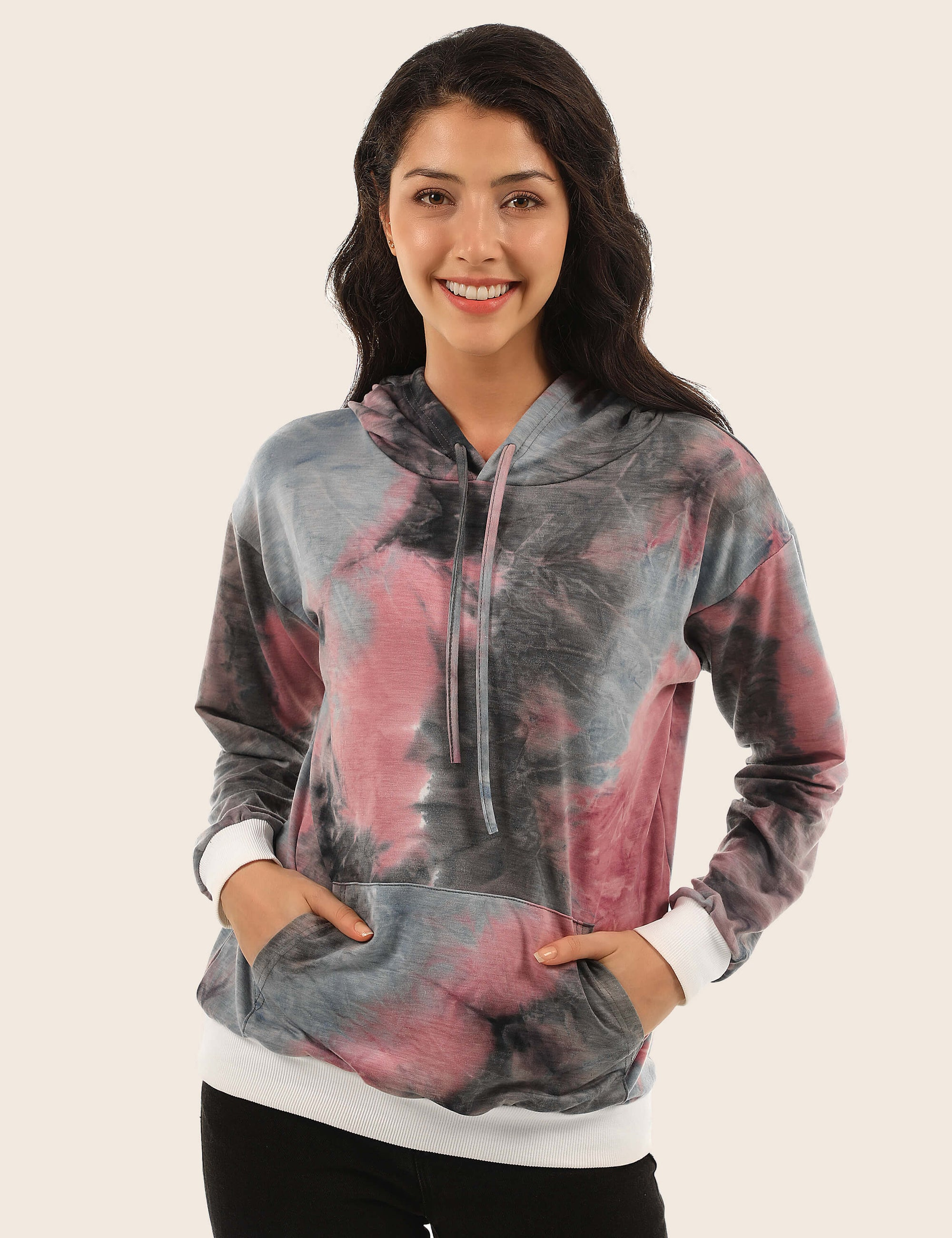 Creative Tie Dye Pouch Pocket Hoodie - Blooming Jelly