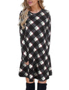 Blooming Jelly_Plaid Scoop Neck Long Sleeve Swing Mini Dress_Black Plaid_142356_02_Autumn&Winter Outdoor Casual A-Line_Dress_Mini Dress
