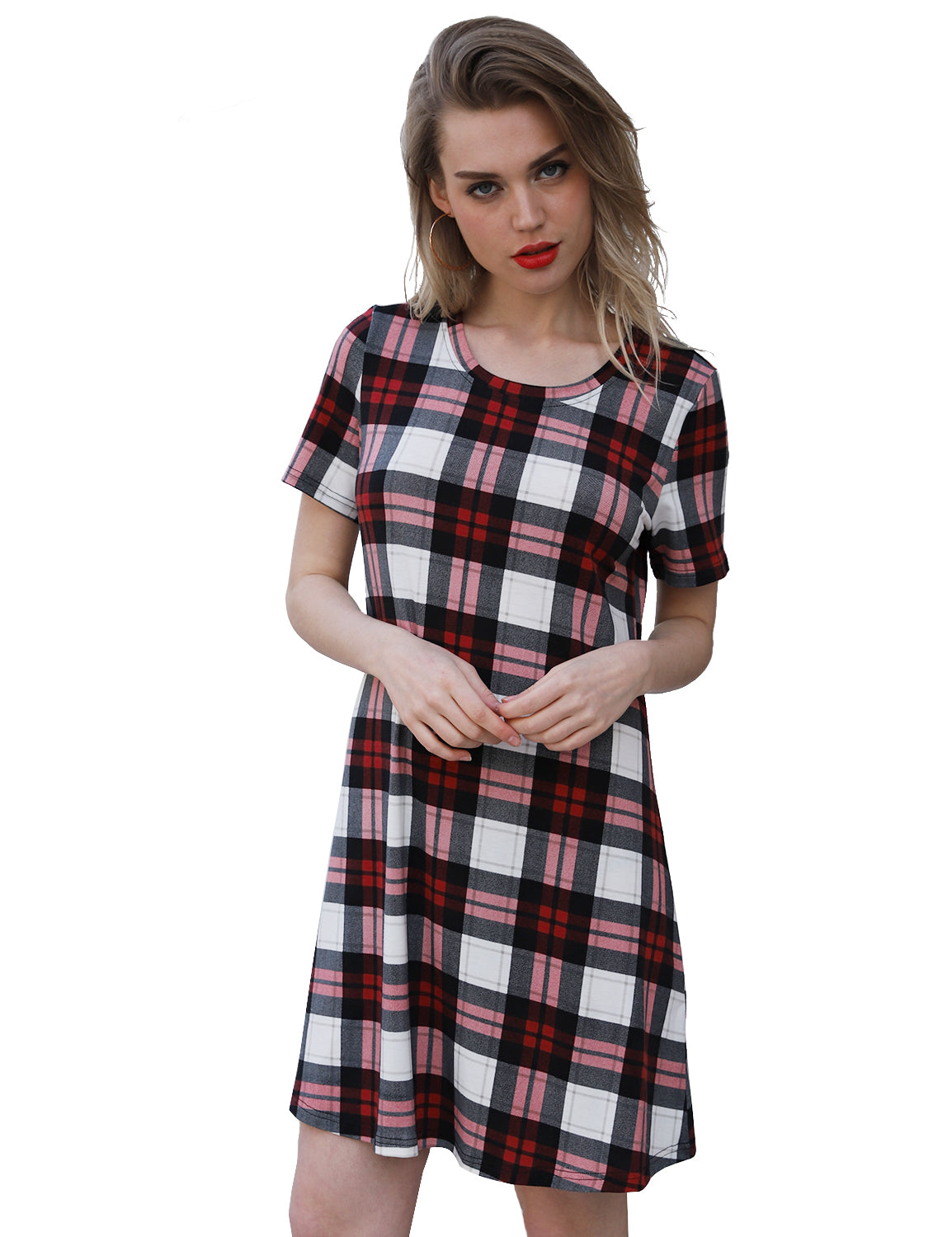 Plaid Scoop Neck Short Sleeve Swing Mini Dress