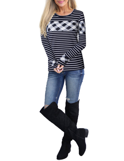 Striped Contrast Checkered Sweatshirt