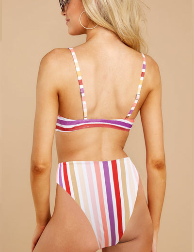 Blooming Jelly_Joy Parade Tie Front Ruffle Bikini Set_Purple Stripe_113007_21_Summer Vacay High Cut_Swimsuit Bikini Set