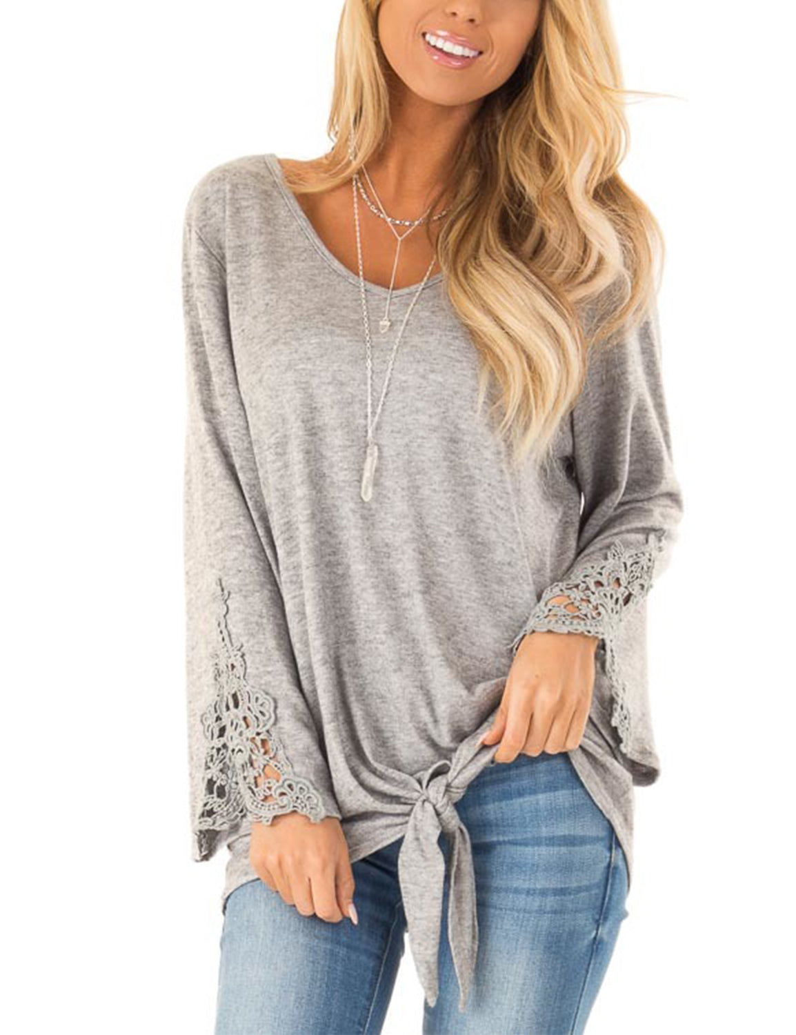 Blooming Jelly_Lovely Lace Flare Sleeves Tie Waist Blouse_Gray_152564_07_Cute Women Long Sleeves_Tops_Blouse