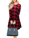 Blooming Jelly_Plaid Scoop Neck Long Sleeve Swing Mini Dress_Red Plaid_142356_17_Autumn&Winter Outdoor Casual A-Line_Dress_Mini Dress
