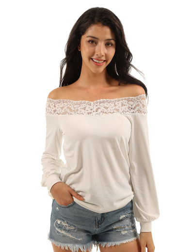 Lovely Off the Shoulder Lace Collar Blouse - Blooming Jelly