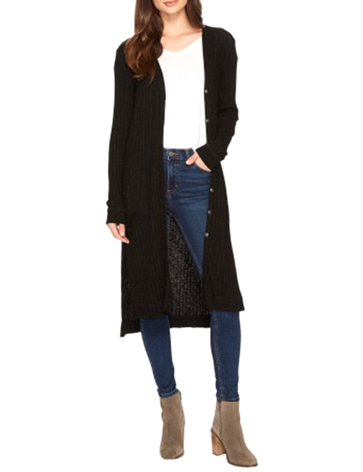 Blooming Jelly_Cool Girl Button Cardigan_Black_296090_02_Casual Outdoor Button Up Long_Tops_Cardigan