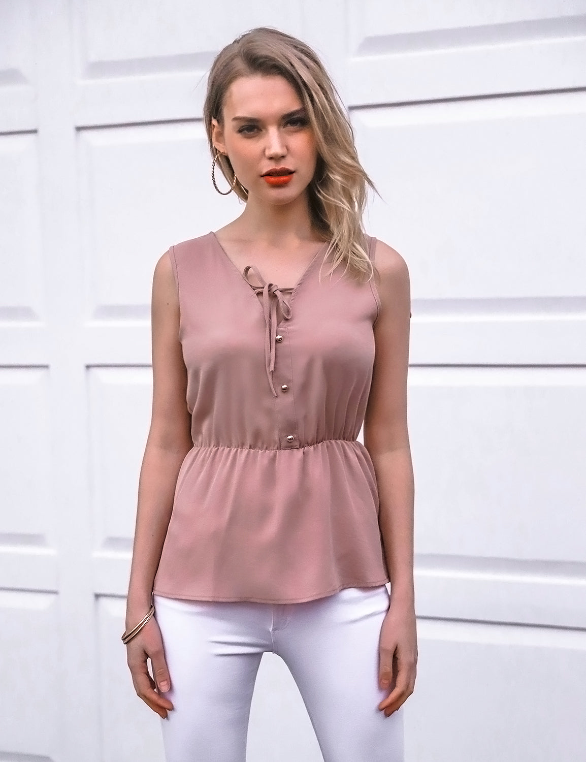 Button V Neck Slim Chiffon Blouse