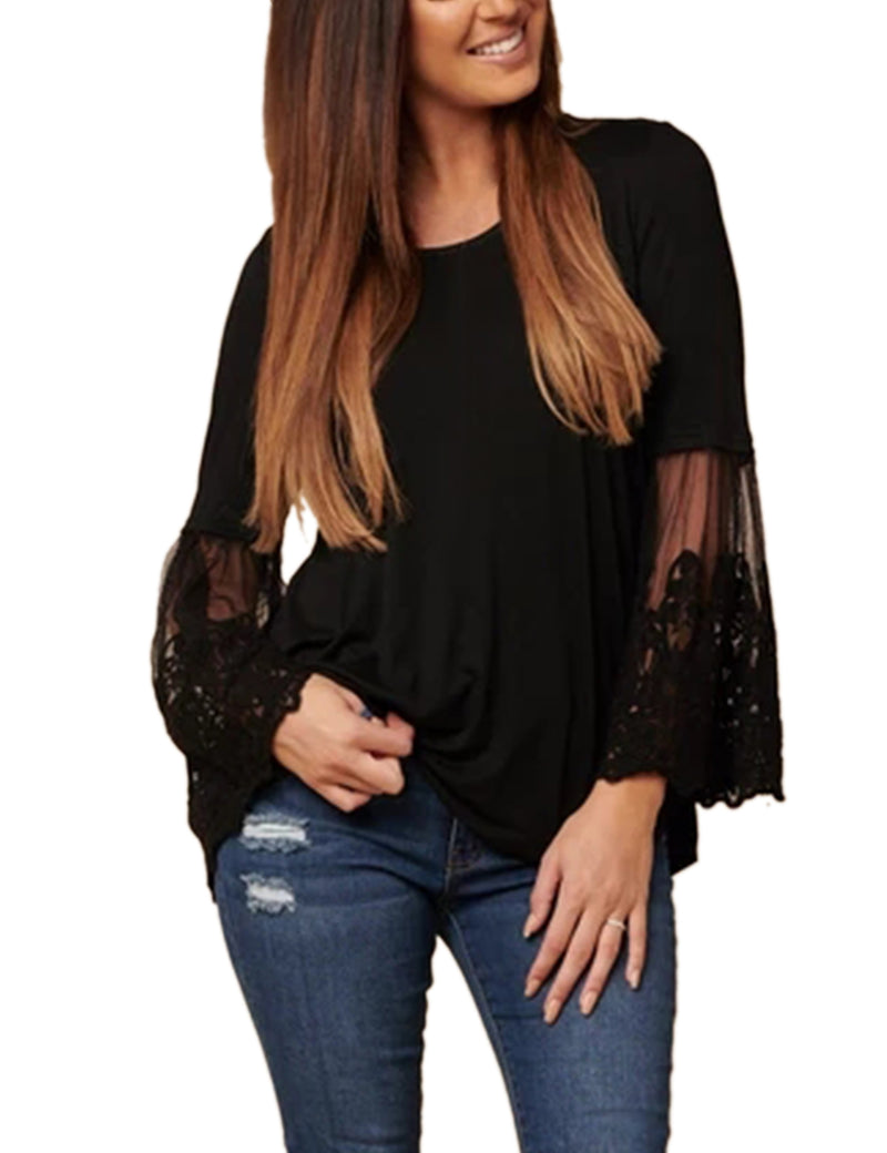Embroidered Lace Butterfly Sleeve Blouse