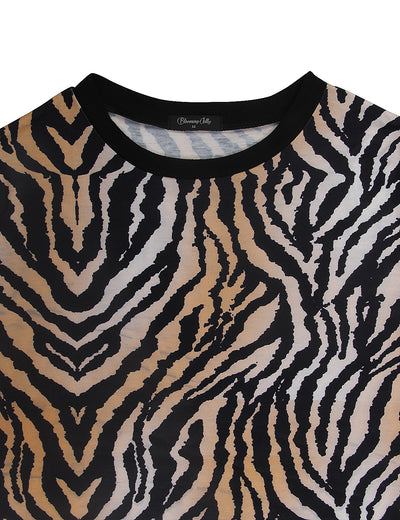 Trendy Animal Print Loose T-Shirt - Blooming Jelly