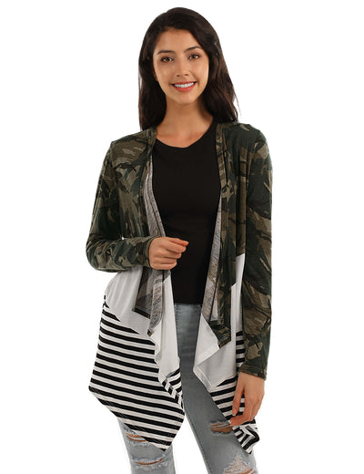 Stylish Camo&Stripes Patchwork Thin Cardigan - Blooming Jelly