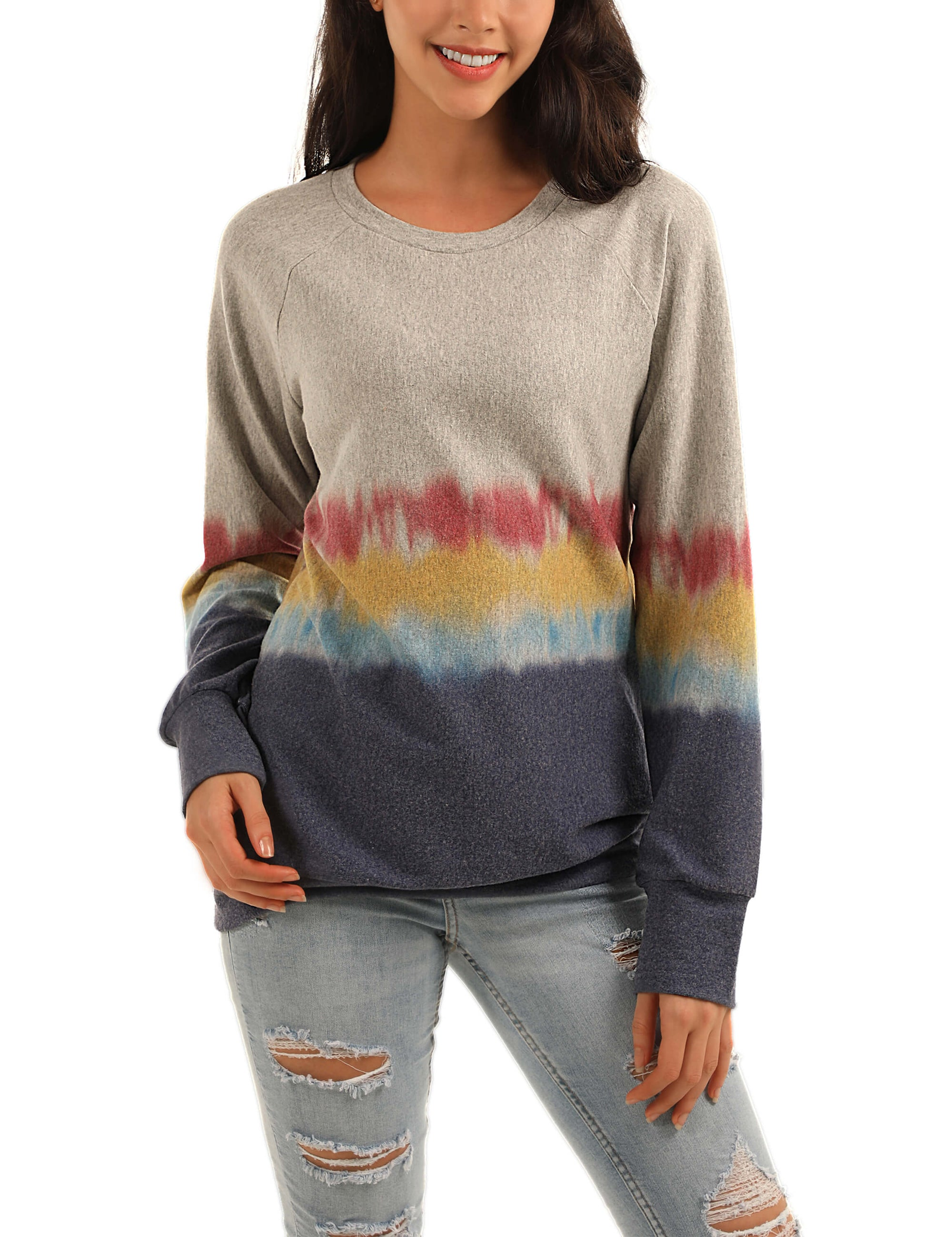 Blooming Jelly_Colorful Life Tie Dye Color Block Sweatshirt_Color Block Tie Dye_302027_07_Women Autumn&Winter Daily Wear_Tops_Sweatshirt