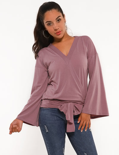 Blooming Jelly_Tie Waist Flare Sleeves Wrap Blouse_Pink_153236_17_Women Fashion Outdoor Wear_Tops_Blouse