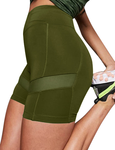 Blooming Jelly_Mesh Patchwork High Waisted Biker Shorts_Dark Olive Green_252147_10_Women Athletic Comfy Outfits_Bottoms_Shorts