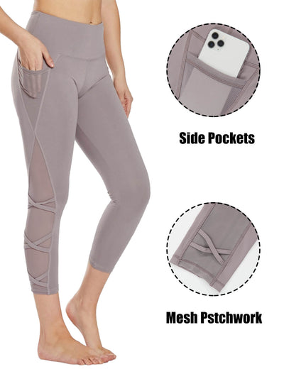 Blooming Jelly_Breathable Mesh Patchwork Capri Leggings_Lavender_253071_15_Women Sportswear High Rise Gym Clothes_Bottoms_Leggings