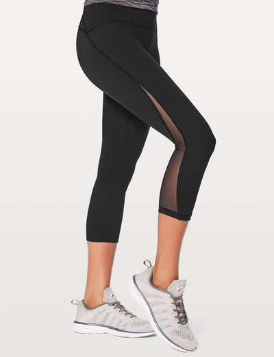 Blooming Jelly_High Waist Mesh Patchwork Cropped Leggings_Black_253073_02_Women Athletic High Elascity Workout_Bottoms_Leggings