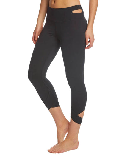 Blooming Jelly_Breathable High Waist Cutout Cropped Leggings_Black_253076_02_Women Athletic High Elascity Workout_Bottoms_Leggings