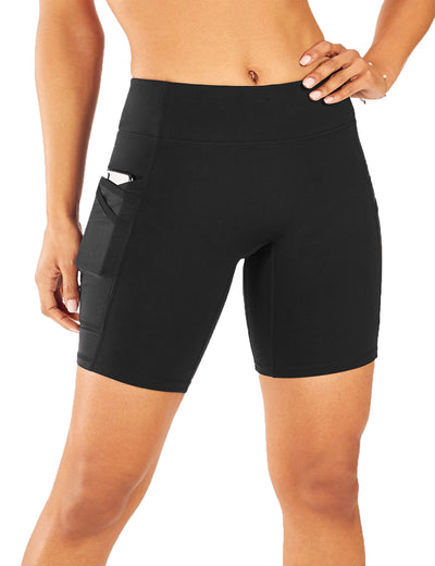Blooming Jelly_High Elasticity Side Pockets Biker Shorts_Black_254001_02_Women Athletic High Elascity Workout_Bottoms_Shorts