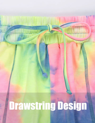 Blooming Jelly_Casual Tie Dye Drawstring Fit Sports Shorts_Tie Dye Print_254064_51_Women Sporty Gym Clothes_Bottoms_Shorts