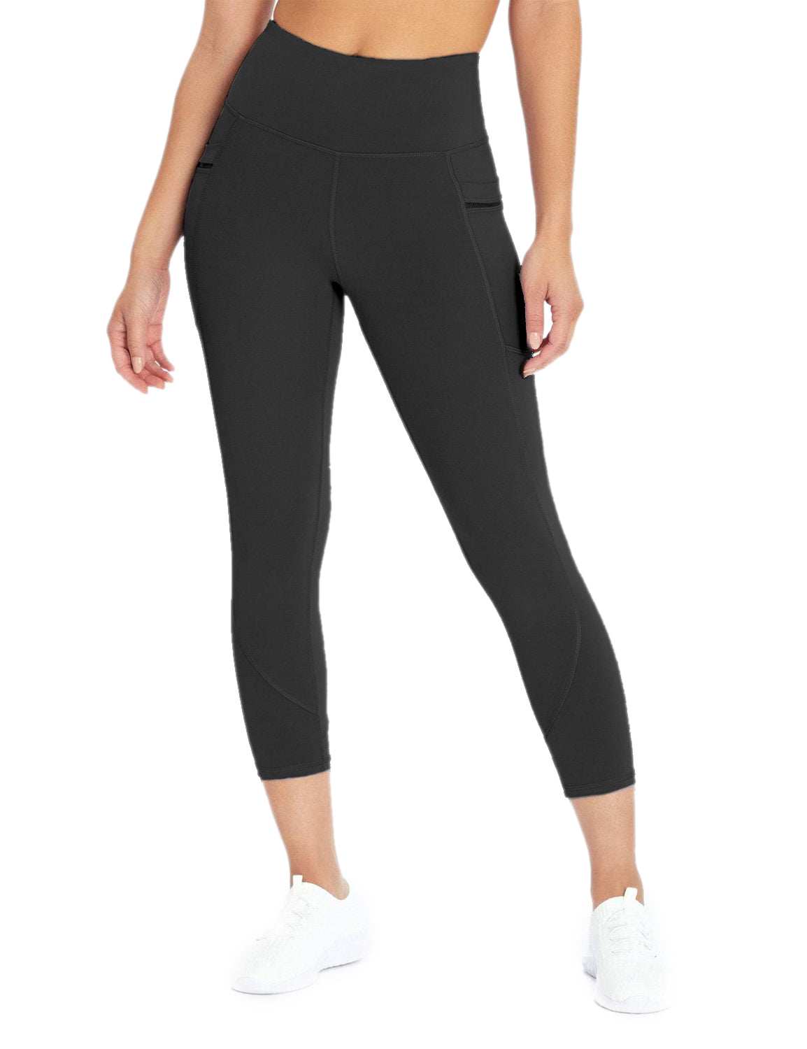 Blooming Jelly_Stretchy High Waisted Capri Leggings_Black_255022_02_Women Athletic High Elascity Workout_Bottoms_Leggings