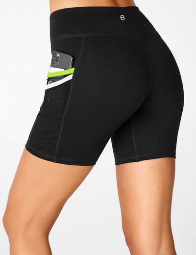Blooming Jelly_17 Inches High Waist Leggings Biker Shorts_Black_256002_02_Women Athletic High Elascity Workout_Bottoms_Shorts