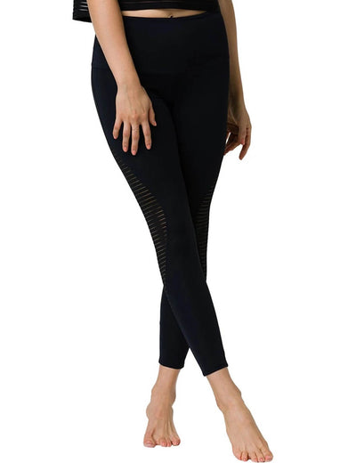 Blooming Jelly_High Waisted Mesh Cutout Leggings_Black_256009_02_Women Athletic High Rise Gym Clothes_Bottoms_Leggings