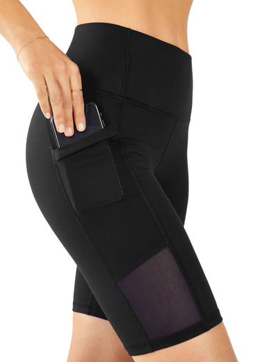 Blooming Jelly_Mesh Patchwork Black Biker Shorts_Black_256031_02_Women Athletic High Rise Gym Clothes_Bottoms_Shorts