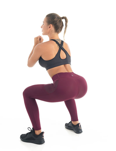 Blooming Jelly_Mesh Panel High Waist Workout Leggings_Burgundy_256090_27_Women Athletic Comfy Outfits_Bottoms_Leggings