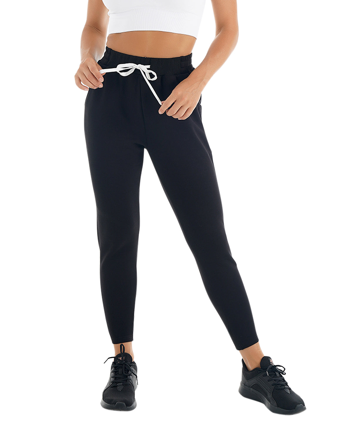Blooming Jelly_Casual Sweatpants Tapered Joggers_Black_256117_02_Women Athletic Comfy Outfits_Bottoms_Joggers