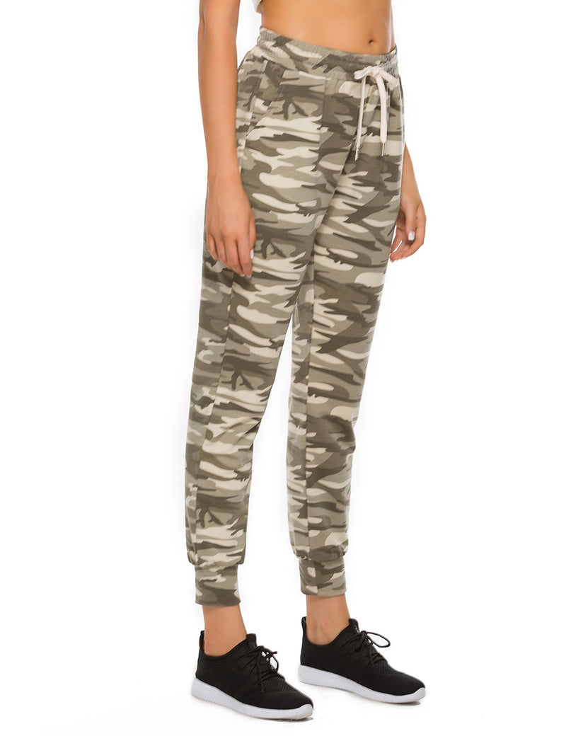 Active Camo Print Pockets Joggers Drawstring Sweatpants - Blooming Jelly