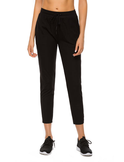 Blooming Jelly_Active Drawstring Joggers Side Pockets Sweatpants_Black_257010_02_Women Indoor & Outdoor Sportswear_Bottoms_Sweatpants