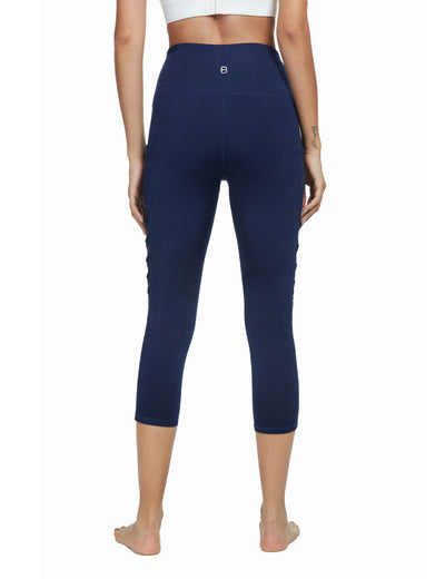 Blooming Jelly_Training High Waisted Capri Leggings_Navy Blue_257070_03_Women Sportswear Gym Clothes_Bottoms_Leggings