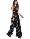 Sleeveless Backless High Waist Flowing Jumpsuit - Black Polka Dots