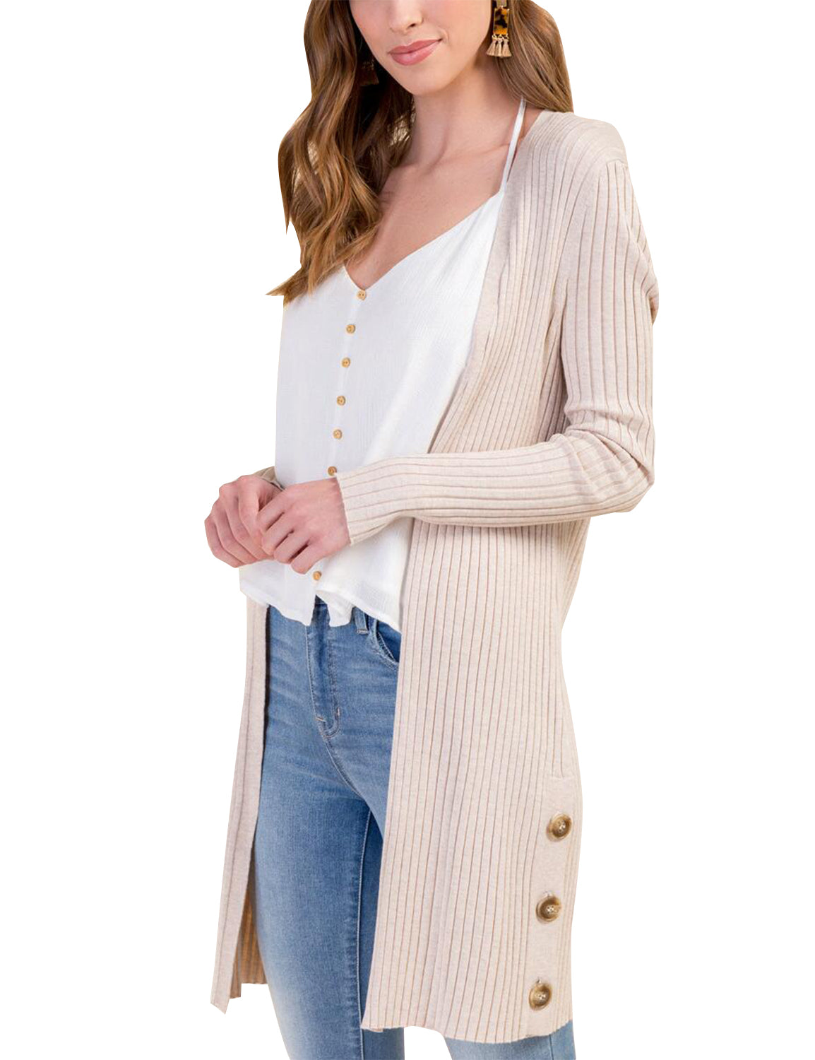 Plain Open Front Ribbed Long Cardigan - Blooming Jelly