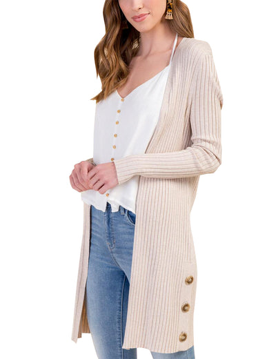 Blooming Jelly_Plain Open Front Ribbed Long Cardigan_PapayaWhip_292027_31_Autumn&Winter Open Front Ribbed_Tops_Cardigan