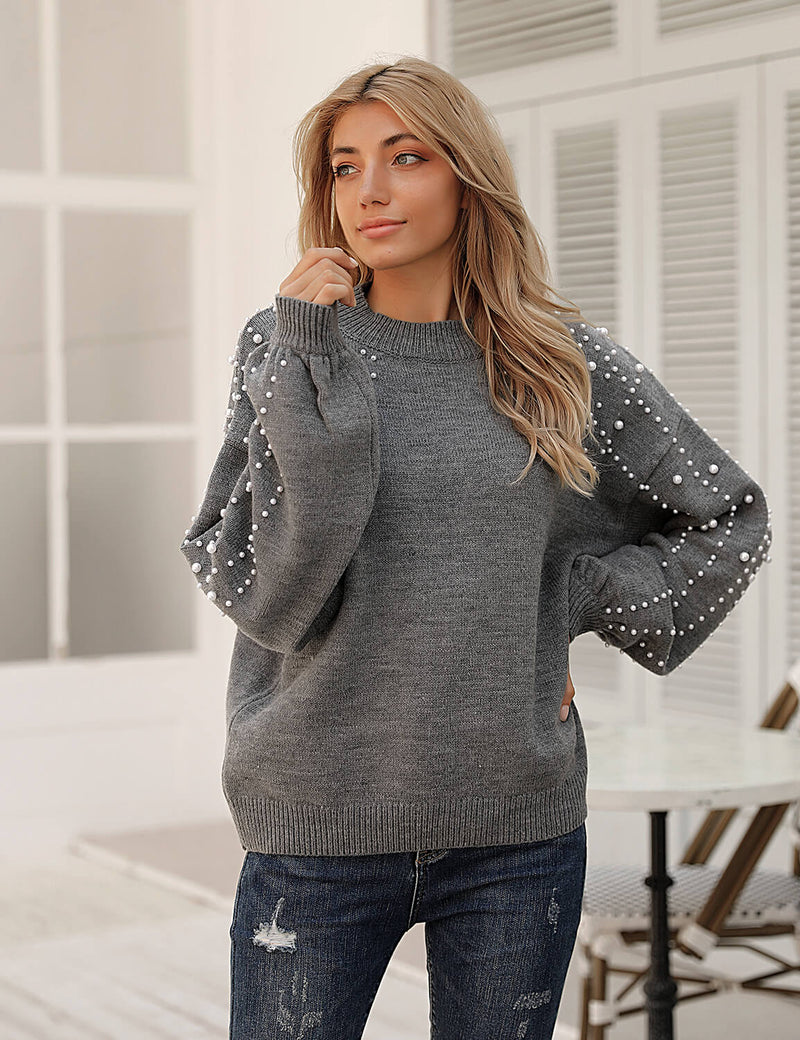 Blooming Jelly_Cozy Pearl Beaded Chunky Knit Sweater_Gray_292058_07_Oversized Women Chic Outfits_Tops_Sweater