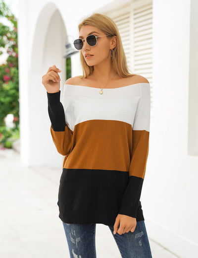 Blooming Jelly_Soft Color Block Off Shoulder Sweater_Contrast Color_292063_21_Women Casual Street Wear_Tops_Sweater