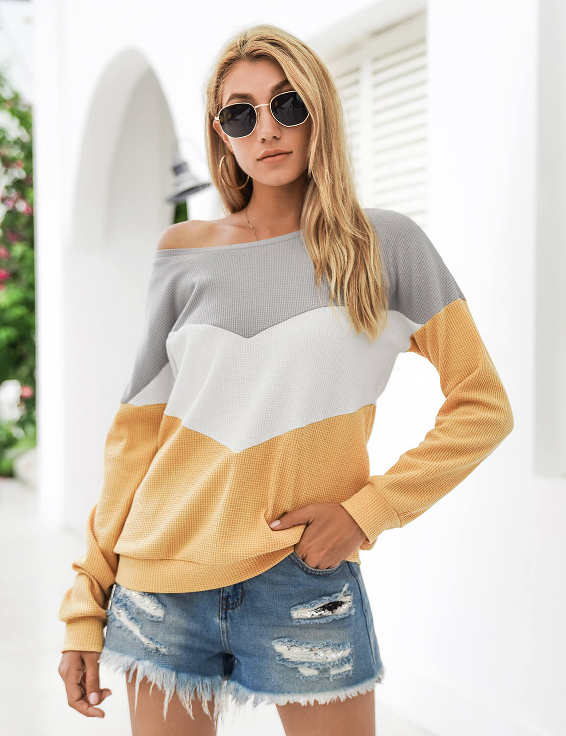 Blooming Jelly_Color Block Waffle Long Sleeve T-Shirt_Contrast Color_293053_20_Stylish Women Casual Outfits_Tops_T-Shirt
