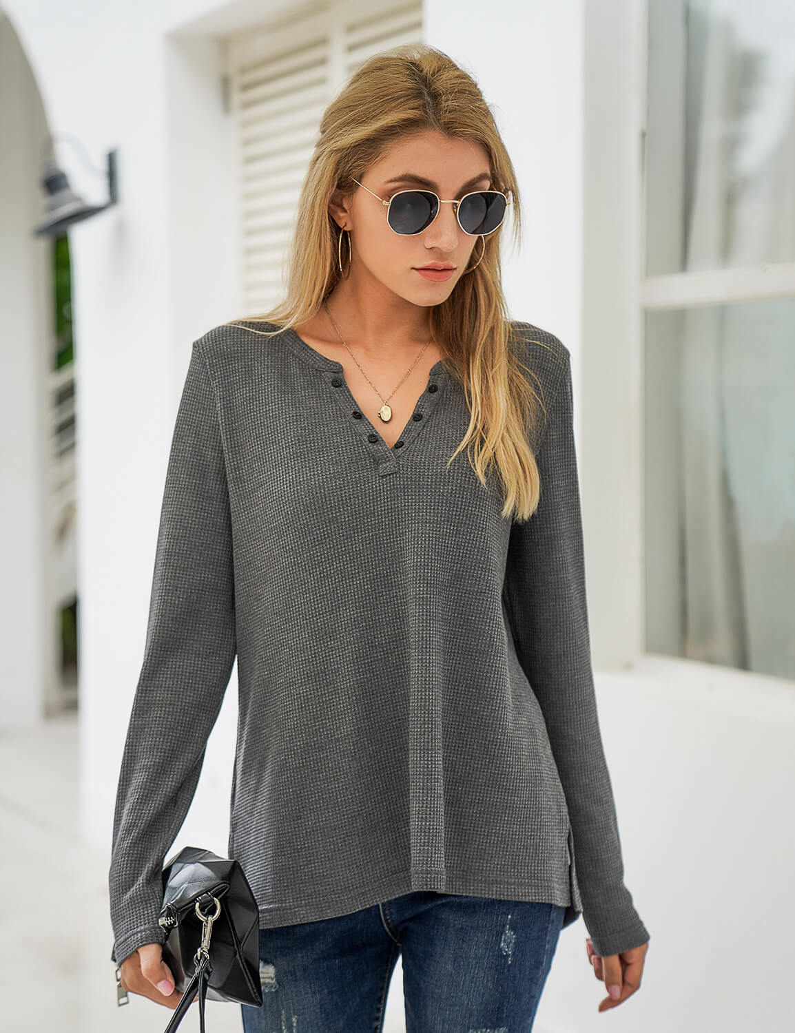Blooming Jelly_Knitted High Low Long Sleeve T-Shirt_Gray_294021_07_Fall Fashion Women's Outfits_Tops_T-Shirt
